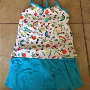 Lands End girls tankini and swim skirt - size 10